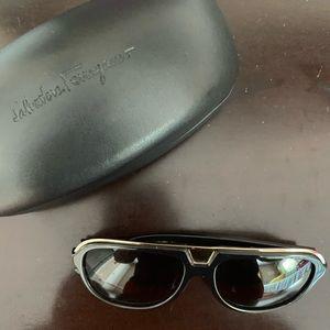 Salvatore Ferragamo Black Aviator Sunglasses
